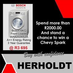 By simply buying this Defy Washing machine you could stand the chance to win a Chevy Spark from the Herholdt Group. Now is a great time to shop at our stores in Middelburg and Graaff-Reinette. Bosch Appliances, Inventions, Washing Machine, Chevy, Home Improvement, Group, Lifestyle, Home Improvements