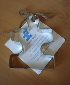 Puzzle piece shaped cookie cutter for Autism Speaks- I became a behavioral therapist 10 years ago and these kids hold my heart