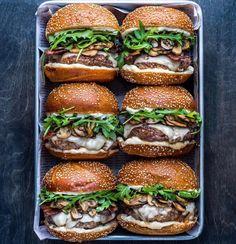 mushroom, arugula & swiss burgers.