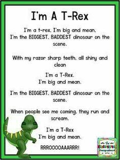 I'm A T-Rex poem! Dinosaur Poem, Dinosaur Theme Preschool, Dinosaur Activities, Preschool Songs, Preschool Lessons, Preschool Learning, Kids Songs, Toddler Activities, Dinosaur Crafts For Preschoolers