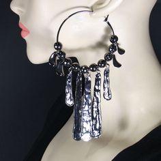 Hematite hoop earrings