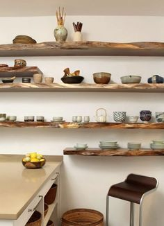 Shelves are easiest to plan with wood slabs.
