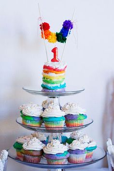 use for mini cake how-to, cupcakes recipe, & jello cup recipe  a rainbow first birthday- deconstructed |