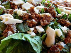Σαλάτα με σπανάκι, γραβιέρα, αμύγδαλα και σάλτσα σύκου-Spinach almond salad with dried fig dressing