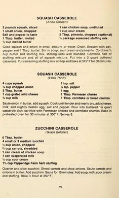 Retro Recipes, Old Recipes, Vintage Recipes, Cookbook Recipes, Side Dish Recipes, Vegetable Recipes, Cooking Recipes, Vegetable Casserole, Zucchini Casserole
