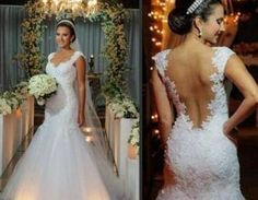 Tulle Appliques Long Mermaid Wedding Dresses Backless Cap Sleeves Bridal Gowns