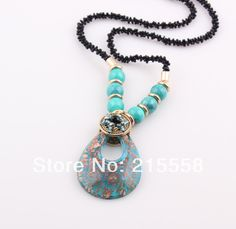 NEW Baroque Fashion Handmade Italian Lampwork Murano Glass Pendant Necklace Jewelry Simulated Turquoise Necklace ZN71