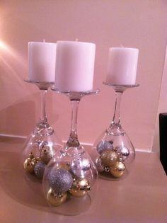 Great Holiday Decor! I just love this.. Dollar store supplies: Candles, Wine Glasses and Holiday Tree Bulbs, Total Cost: $7.00!