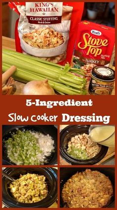 Slow Cooker Dressing Slow Cooker Dressing <br> If you need to cook this yummy recipe longer than 5 hours just add a little more broth or water to keep the edges from burning. Pumpkin Recipes, Turkey Recipes, Fall Recipes, Holiday Recipes, Christmas Recipes, Holiday Meals, Christmas Snacks, Vegan Pumpkin, Christmas Desserts