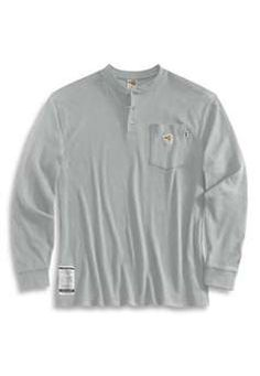 Carhartt Mens FRK293 Flame Resistant Long Sleeve Henley - Light Grey | Buy Now at camouflage.ca
