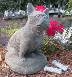 French Bulldog  Concrete garden Statue by springhillstudio on Etsy, $38.95