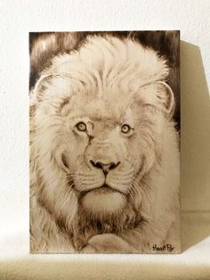 Lion pyrography by heart pyr Pyrography, Pet Birds, Lion, Watercolor, Heart, Handmade, Animals, Leo, Pen And Wash