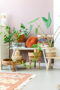 Zo geef je je interieur een bohemian touch You create a bohemian interior in a simple and budget-fri Bohemian Furniture, Bohemian Interior, Home Interior Design, Interior Styling, Interior Shop, Interior Paint, Pastel Interior, Interior Bohemio, Boho Chic Living Room