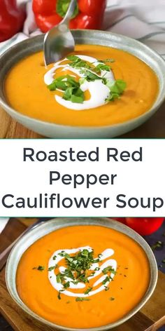 Picnic Ideas Discover Roasted Red Pepper Cauliflower Soup This Roasted Red Pepper Cauliflower Soup is a simple recipe thats packed with freshly roasted red peppers and cauliflower! Its healthy vegan and can be made from scratch in under an hour! Healthy Soup Recipes, Easy Dinner Recipes, Vegetarian Recipes, Easy Meals, Cooking Recipes, Healthy Fall Soups, Vegetarian Cooking, Heathy Soup, Simple Soup Recipes