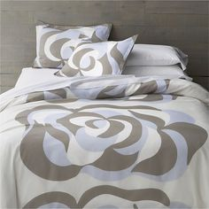 $90 SALE (limited left) - only comforter, SHAM pillow $35 - Marimekko Suudelma Grey Bed Linens in All Decorative Bedding | Crate and Barrel