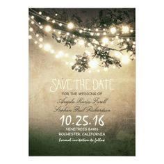 Rustic Tree Branches String Lights Save The Date Paper Invitation Card