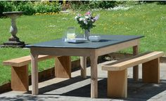 Stunning Slate Table looks fabulous in this english country garden Fine Furniture, Outdoor Furniture, Outdoor Decor, A Table, Dining Table, English Country Gardens, Garden Table, Slate, Modern