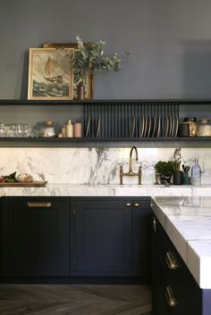De Nimes and Railings work together to create a wonderfully sophisticated scheme in this beautiful kitchen with dark cabinets and light counter top.