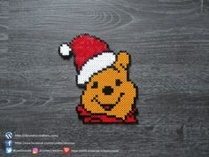 Winnie l'Ourson de Noël Perles Hama / Winnie the Pooh of Christmas Perler Beads Perler Bead Designs, Perler Bead Templates, Hama Beads Design, Perler Bead Art, Hama Beads Disney, Hama Disney, Melty Bead Patterns, Hama Beads Patterns, Beading Patterns
