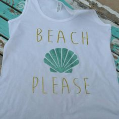 << Beach Please Summer Tank Top >> Nwt from my boutique   Available in small medium large and XL   Womens loose fitting tank top with a glitter print!   Let me know your size and I will make you a listing. PLEASE do not buy this listing Twang Boutique  Tops