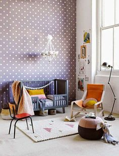 Tips for Decorating an Eclectic Kidsroom Cool Girl Bedrooms, Girls Bedroom, Bedroom Decor, Kids Wallpaper, Room Wallpaper, Ethnic Decor, White Rooms, Shop Interiors, Cool Walls