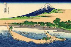 Page: Shore of Tago Bay, Ejiri at Tokaido Artist: Katsushika Hokusai Completion Date: 1832 Style: Ukiyo-e Series: Thirty-six views of Mount Fuji Genre: landscape Tags: caves-and-volcanoes, mountains
