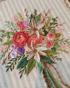 Image may contain: plant Brazilian Embroidery Stitches, Hand Embroidery Stitches, Hand Embroidery Designs, Cross Stitch Embroidery, Pillow Embroidery, Embroidery Flowers Pattern, Embroidery Hoop Art, Crazy Quilt Stitches, Ribbon Art
