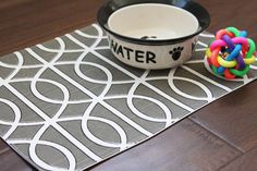 Pet-Mat (Placemat for your Dog or Cat's Bowl) Grey Squiggles: Small Size. $12.00, via Etsy.