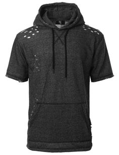 Stay trendy and looking casual in this french terry cut out short sleeve hoodie sweatshirt top. This longline inspired hoodie top is designed for for all streetwear enthusiasts. Crafted from a soft te