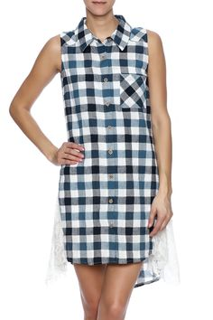 Denim blue and ivory button down plaid sleeveless tank dress has a collar front pocket and lace inserts along the side with a slightly elongated back. Measuring 34 inches from the shoulder to the front hem pair this dress with cute wedge sandals to be cool and comfortable this summer.  Plaid Tank Dress by A'reve. Clothing - Dresses Wyoming