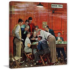 """Marmont Hill - """"Jury"""" by Norman Rockwell Painting Print on Canvas - Multi-color (18 x 18), Silver aluminum"""