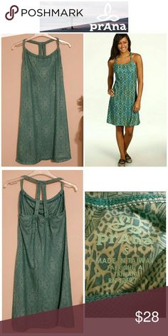 SALE!!  Prana Quinn Style Halter Dress This dress is a halter style the gathers at the back of the neck.  It's super soft and in great pre-owned condition.  (Picture of the model is only to help describe the cut of the dress and NOT the same pattern)  The color is similar to turquoise. Prana Dresses
