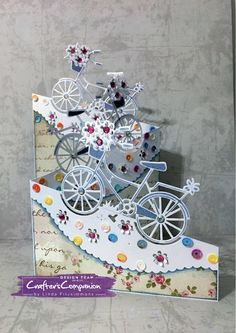 Tri-fold card made using Crafter's Companion Die'sire Dutch Edge'ables - Bloemin Bicycle die. Designed by Linda Fitzsimmons Z Cards, Pop Up Cards, Cool Cards, Easel Cards, Tri Fold Cards, Fancy Fold Cards, Folded Cards, Unique Cards, Creative Cards