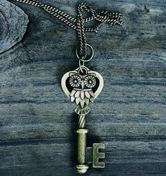 Vintage Owl Key Necklace Bronze FREE SHIPPING by MythicalFolk