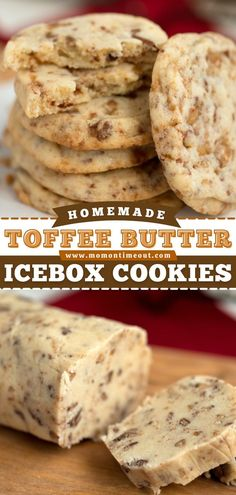 This Christmas in July recipe is great to have on hand! 6 ingredients are all you need for these Toffee Butter Icebox Cookies. Make the dough ahead and just slice and bake when you need some delicious… Icebox Cookies, Toffee Cookies, Crinkle Cookies, Yummy Cookies, Cinnamon Roll Cookies, Buttery Cookies, Drop Cookies, Sweet Cookies, Baby Cookies