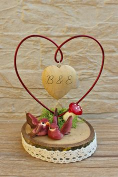 Personalized Wedding Cake Topper, Custom Wedding Bride and Groom, Custom Cake Top, rustic wedding cake topper forest wooden heart by ArtwenShop on Etsy