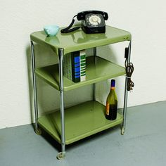 Vintage metal cart - serving cart - kitchen cart - Cosco - lima bean green - wheels - 3 shelf...my Mom & Dad had one of these in beige & had handles on both sides.