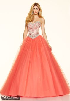 Embroidery and Beading on a Tulle Ball Gown Corset Back Closure. Colors Available: Coral, Cobalt