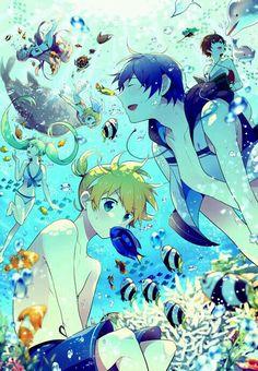 Vocaloid - Megurine Luka, Hatsune Miku, Kagamine Rin and Len, Kaito, Meiko Chibi, Mega Anime, Kaito Shion, Vocaloid Kaito, Vocaloid Characters, Kagamine Rin And Len, Vocaloid Cosplay, Mikuo, Anime Style