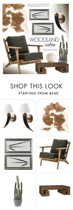 """Woodland Cabin"" by kathykuohome ❤ liked on Polyvore featuring interior, interiors, interior design, home, home decor, interior decorating, WALL and rustic"