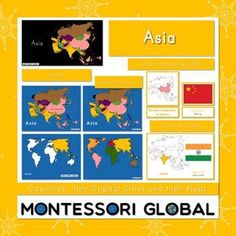 Asia - Continent, Countries, their Flags and their Capital Cities World Geography Lessons, Blank World Map, Countries Of Asia, County Flags, Asia Continent, Toddler Teacher, Asia Map, Map Outline, Matching Cards