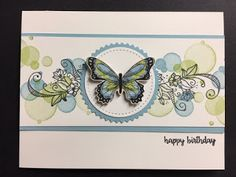 Beauty Abounds, Happy Birthday Gorgeous, Botanical Butterfly DSP, Birthday Card (My Creative Corner! Stampin Up, Happy Birthday Gorgeous, Stamping Up Cards, Rubber Stamping, Happy Flowers, Handmade Birthday Cards, Butterfly Cards Handmade, Handmade Flowers, Birthday Wishes