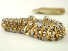 Millipede Chainmaille Bracelet Kit - Stainless Steel and Brass
