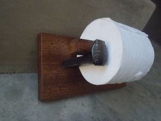 Custom handmade toilet paper holder with Railroad spikes and reclaimed pallet wood. by DumpsterDogArt on Etsy