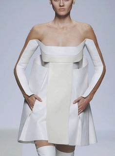 Sculptural Fashion - white panel dress; illusion dress; futuristic fashion design
