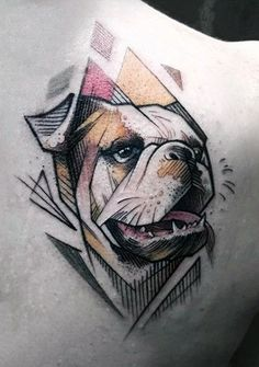 Cool Astract French Bulldog Mens Back Tattoo