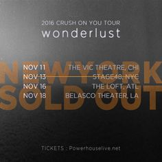 [Crush] 2016 CRUSH ON YOU TOUR 'wonderlust' in USA ____ New York show has completely sold out!  ____  There are some tickets still available right now. Don't miss your chance to see Crush LIVE!! TICKETS : www.powerhouselive.net