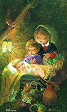 Christmas Nativity, Noel Christmas, Christmas Cards To Make, Vintage Christmas Cards, Clipart Noel, O Holy Night, Illustrations, Christian Art, Christmas Pictures