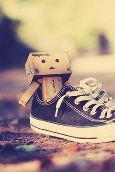 Lil' Box man in a converse! SOOOOOO Cute Hope he smells good! LOL!