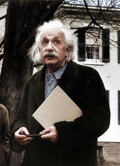 "kafkasapartment: "" Einstein, 1946 (Colorized). Paula Wright. Archival ink print ""Try not to become a man of success, rather than becoming a man of value."" -Albert Einstein """